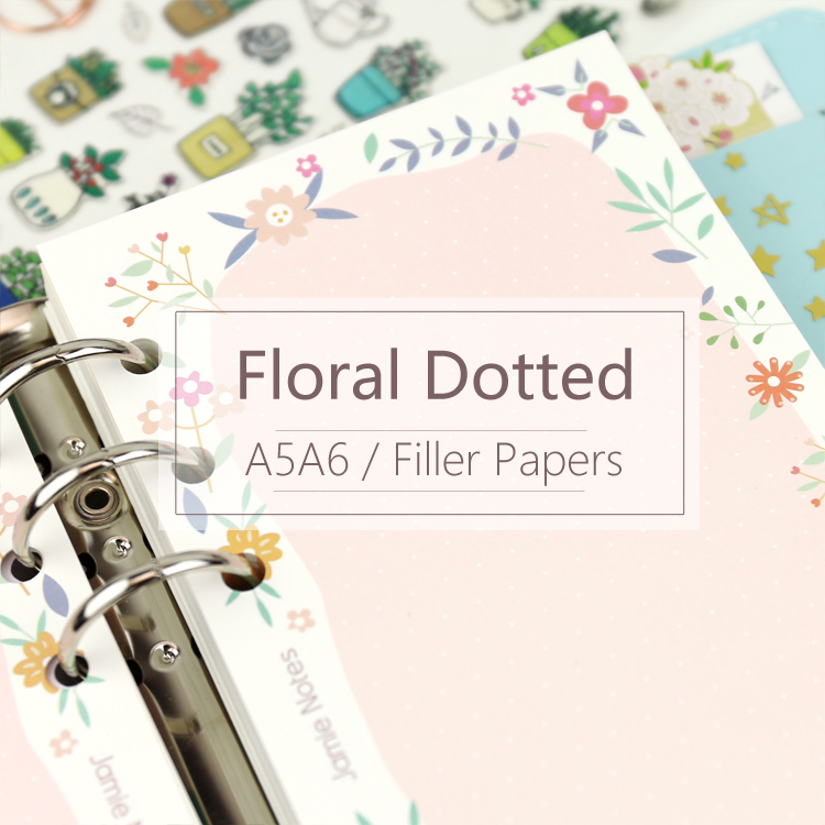 MyPretties Floral Dotted Refill Papers A5 A6 Filler Papers For 6 Hole Binder Organizer Notebook 40 Sheets Papers For Planner