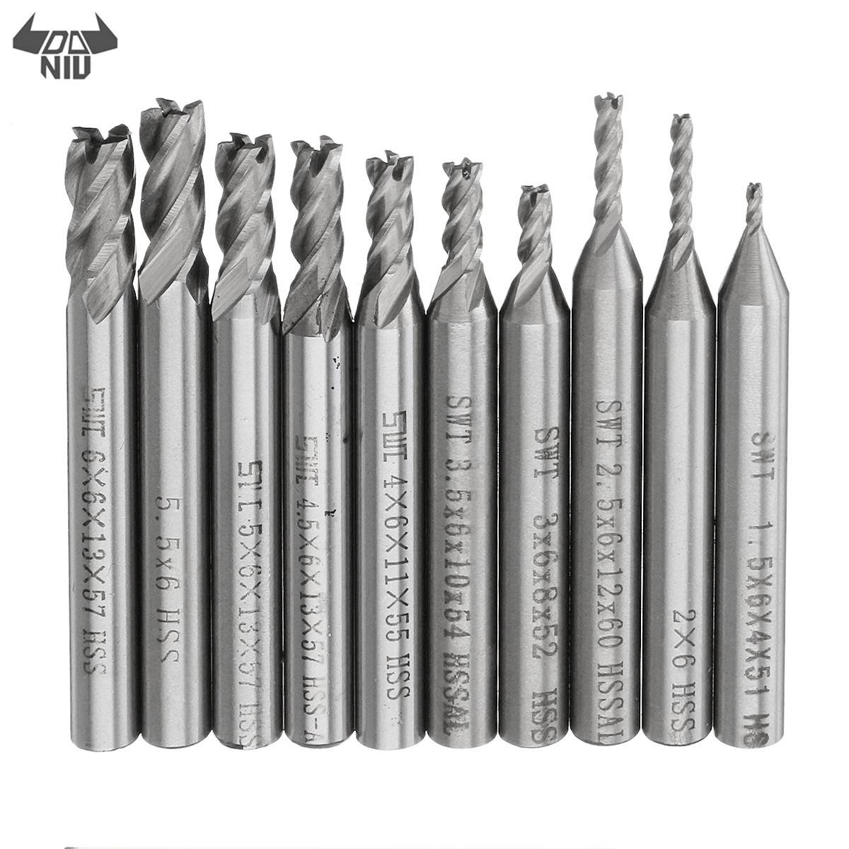 DANIU 10pcs/set 1.5-6mm HSS 4 Flute End Mill Cutter 6mm Straight Shank CNC Drill Bit Set High Speed Steel