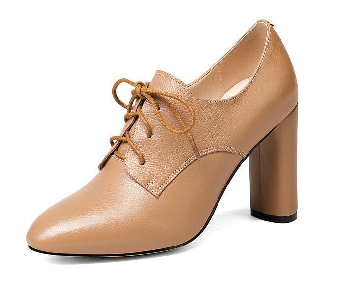 Genuine Leather Sole Lace Up Designer Pumps Leather Pumps thick Heels Women Shoes Ladies N587496325Genuine Leather Sole Lace Up Designer Pumps Leather Pumps thick Heels Women Shoes Ladies N587496325