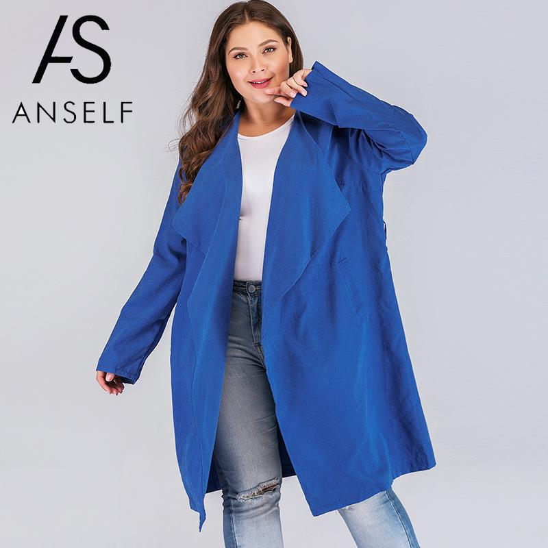 2019 Spring Winter Coat Women Plus Size   Trench   Coat Solid Turn-down Collar Cardigan Long Sleeve Tops Outerwear Oversized 3XL 4XL