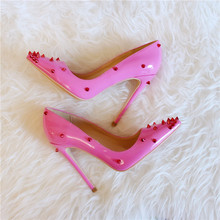 Sweet Pink Patent Leather High Heel Pumps 12CM Red Spike Rivets Pointed Toe Wedding Shoes Bride Sexy Night Club Pump Shoes Women dorisfanny night club super sexy high heel pumps party shoes for women rainbow color changing women wedding shoes