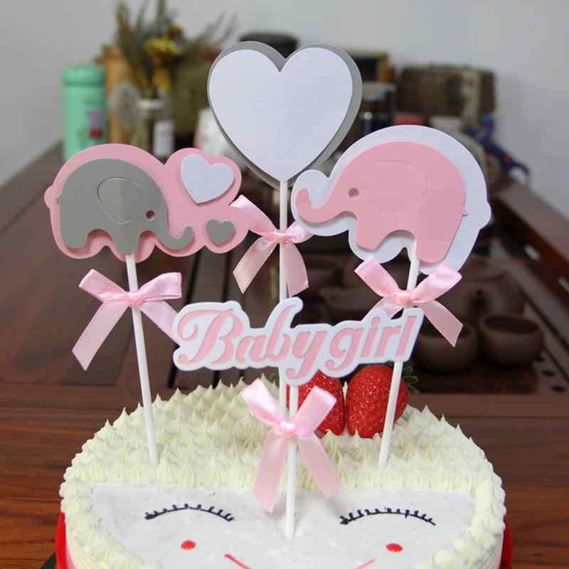 Elefante 4 PCS Meninos Das Meninas Do Bebê Bolo Topper Baking Bolo Bunting para Banquete Decoração Fontes Do Partido Do Feriado Do Aniversário