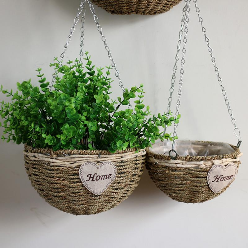 Wall Hanging Wicker Woven Braided Flower Basket Pot Planter Rattan Vase Basket Home Garden Wall Decoration Storage Container 40