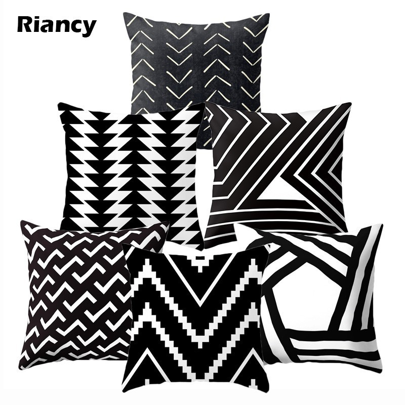 Black White Geometric Polyester Cushion Cover Throw Pillow Living Room Car Home Decoration Sofa Bed Decorative Pillowcase 40525