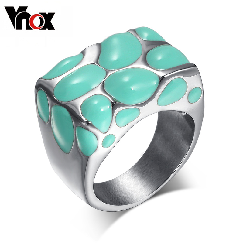 Vnox Enamel Rings Jewelry Stainless-Steel Multicolor Women Wedding Large Fashion