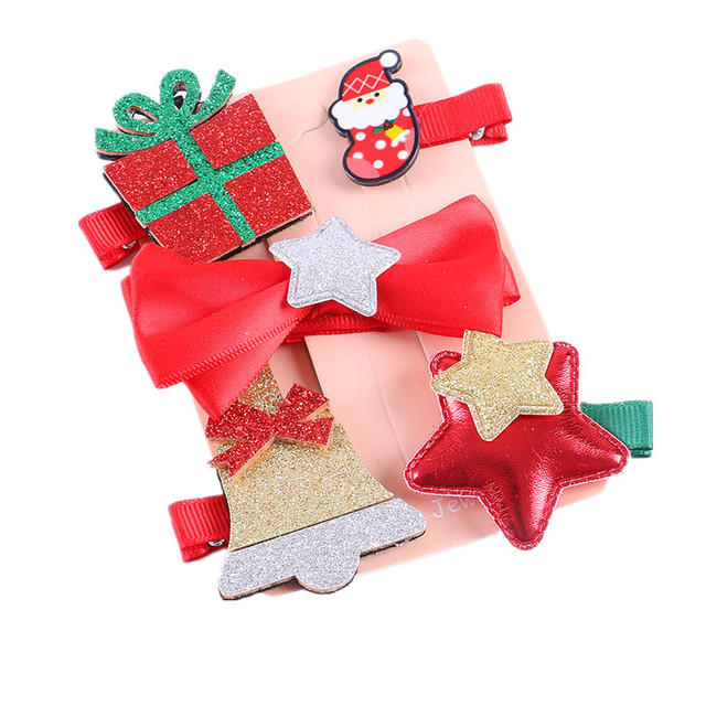 678655adf2d29 Baby Hair Clips New Year s Gift Kids Christmas Hair Clip Set Accessories  For Girls Christmas Tree Cintillos Santa Claus Ninas