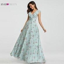 Купить с кэшбэком Bridesmaid Dresses Long Ever Pretty V-neck Printed Chiffon Floral Printed Summer Beach Dresses 2019 Sexy Dresses for Wedding