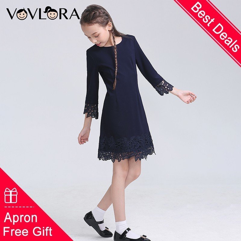 Free Gift Apron School Girls Dresses Lace Formal Kids Dress Blue Autumn Children Clothes 2018 New Size 9 10 11 12 13 14 Years