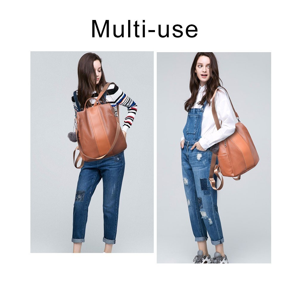 Herald Fashion Casual Leather Women Anti-theft Backpack Quality Vintage Backpacks Female Larger Capacity Travel Shoulder Bag Sac