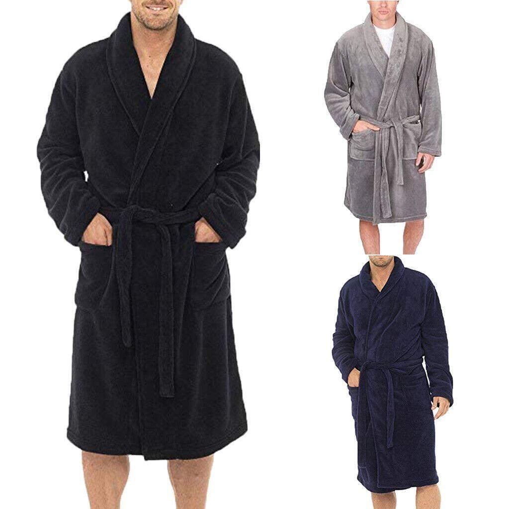 Fashion Men Solid Color Fleece Robe Winter Warm Waistband Male Shawl Collar Bathrobe Sleepwear Men Sexy Winter Robes 2019
