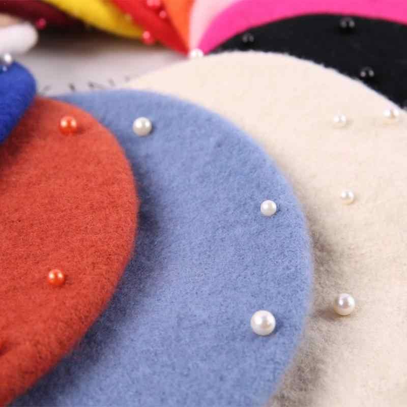 2018 детские шапки-береты на весну, осень, зиму, шерстяные береты с жемчужинами, шапка в стиле ретро, детский берет головной убор в французском стиле