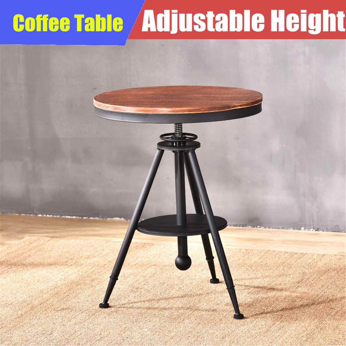 Round Dining Table Wooden Vintage Industrial Bar Cafe Coffee Furniture Decoration Outdoor Bistro Bar Stool Height Adjustable(China)