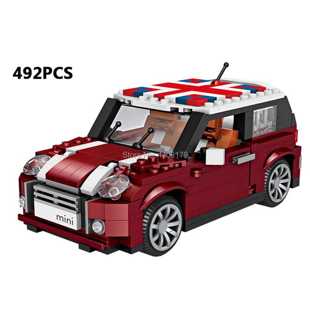 Hot LegoINGlys Creators Technic Vehicles Retro Mini Car Cooper Micro Diamond Building Blocks Model Bricks Toys For Children Gift