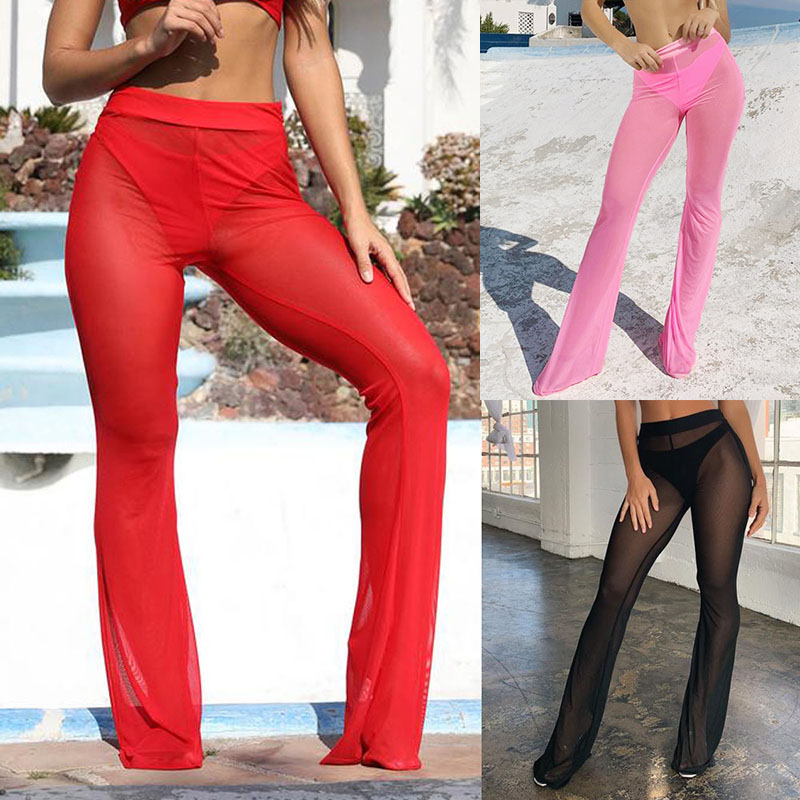 Pants   Women Casual Sexy Mesh   Wide     Leg     Pants   Perspective Flared Lady Trousers
