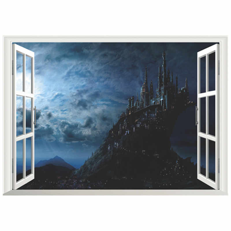 Harry Potter movie poster Magic Castle 3d fake window vinyl wall stickers home decoration removable wallpaper