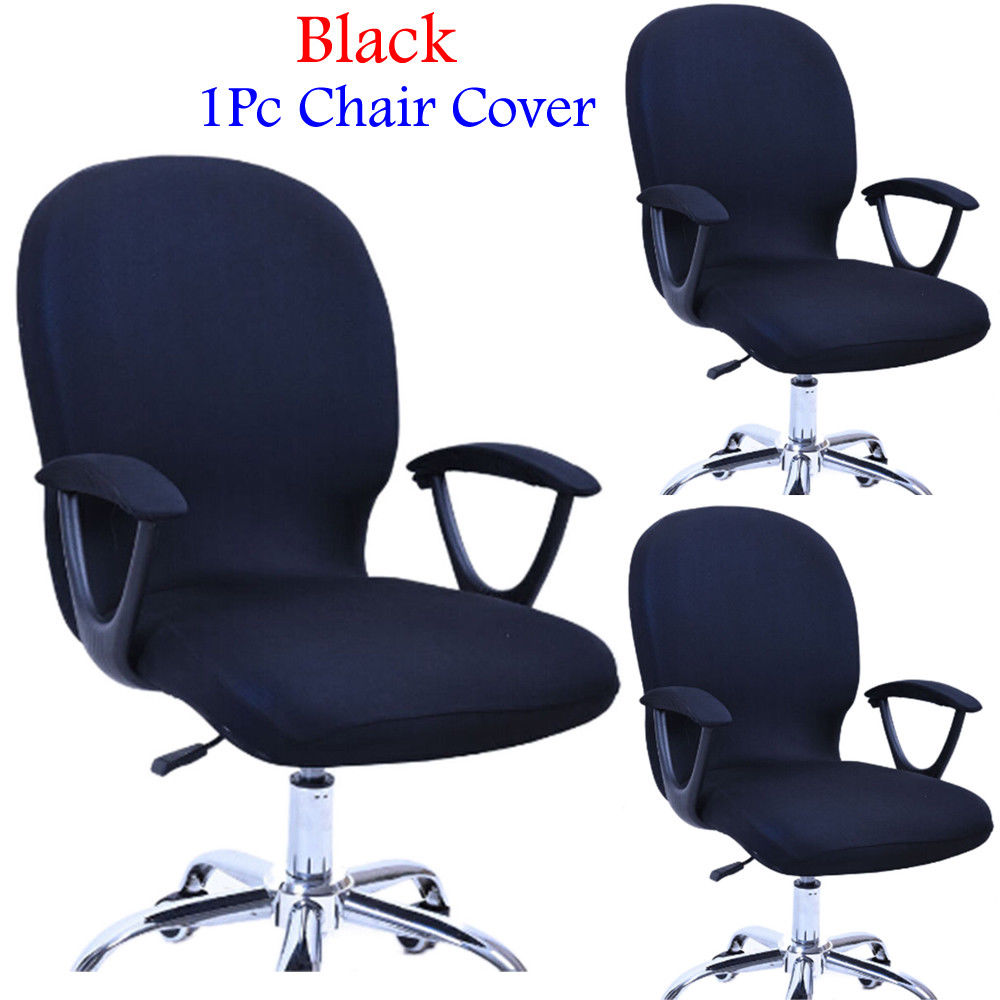 Office Computer Chair Elbow Armrest Slipcovers Cover for Rotate Chair Black