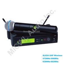 SLX SLX24 SM BETA58A UHF беспроводной микрофон Система BETA 58 беспроводной супер кардиоидный динамический ручной караоке микрофон для караоке DJ