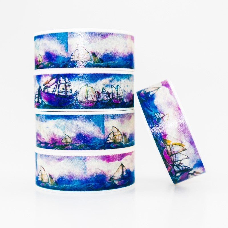 Blue Sea Sailboat Pattern Washi Masking Tape Sticky Color Decorative Tape Set DIY Decoration Office Stationery Scrapbook 1PCS