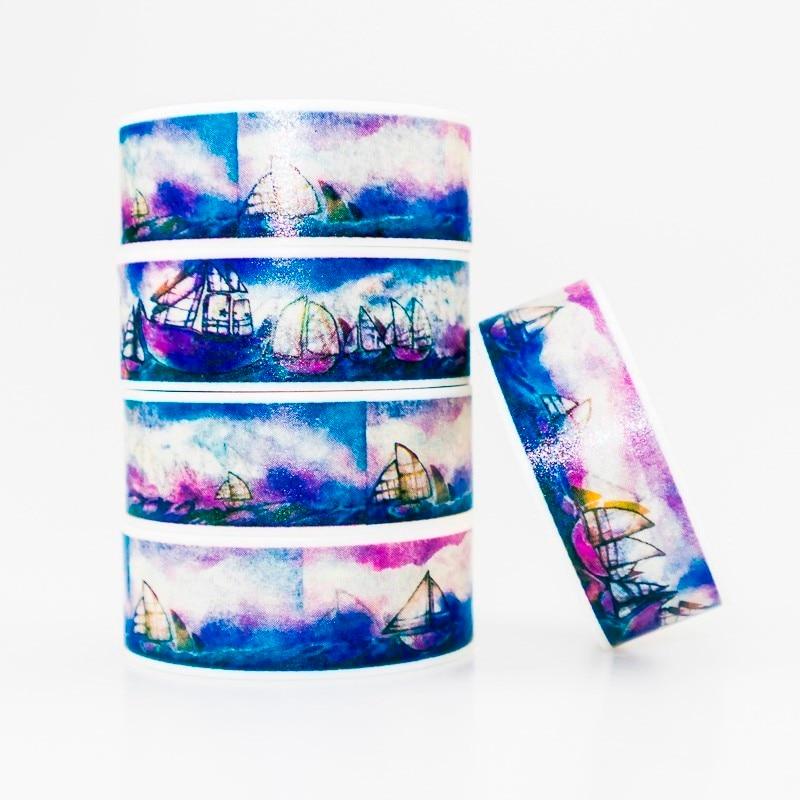 Blue Sea Sailboat Pattern Washi Masking Tape Sticky Color Decorative Tape Set DIY Decoration Office Stationery Scrapbook 1PCS