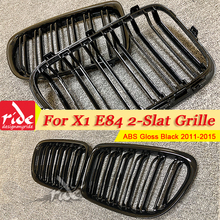 1 Pair X1 E84 Front Grille ABS Gloss Black For X1-Series Mesh Griis Double Slats Kidney 2011-2015