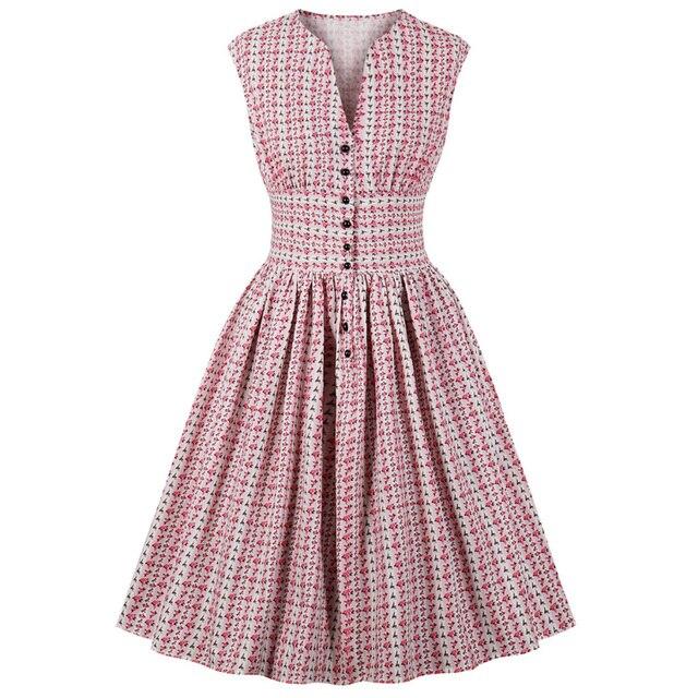 Wipalo женское летнее винтажное платье с цветочным принтом с v-образным вырезом без рукавов булавка на пуговицах Fly Вечеринка рокабилли Ретро платье
