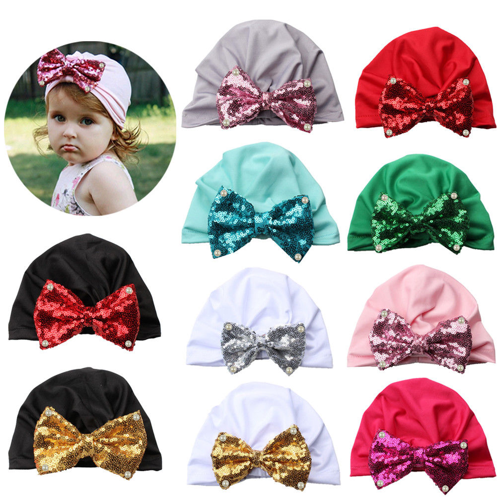 Cap Beanie-Hat Winter Kids Cotton Girl Boy Unisex Warm Solid Turban Sequin Bowknot Candy-Color