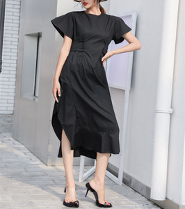 Image 2 - LANMERM 2020 Spring Summer Short Sleeve Asmmetrical High Waist High Vent Dress For Women Female Black White Cloth Vestido WD712