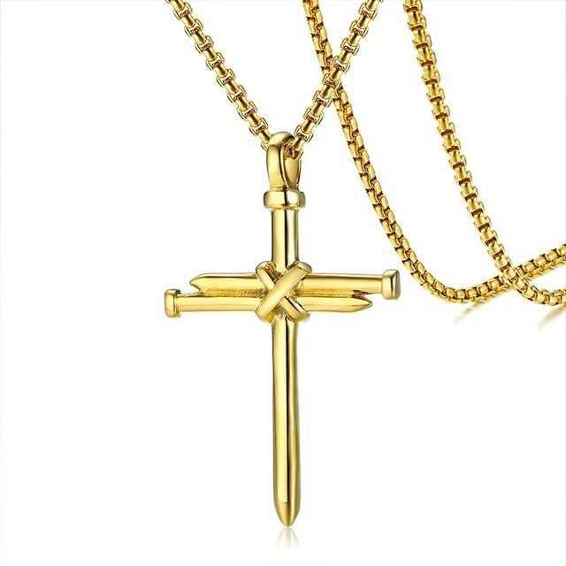 3 cores masculino corrente presentes de jóias cristãs cruz crucifixo do vintage jesus pedaço longo pingente & colar cor ouro titânio aço