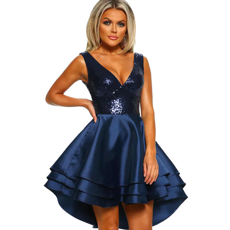 Сексуальное женское платье с блестками без рукавов с глубоким v-образным вырезом и оборками, летнее платье с высоким низом, сверкающие вечерние мини-платья красного/Королевского синего цвета
