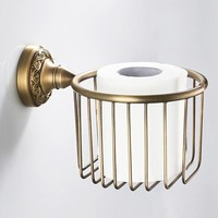 Vintage Luxury Toilet Paper Holder Brass Curved Pattern WC Paper Roll Storage Rack Home Essential Bathroom Accessories
