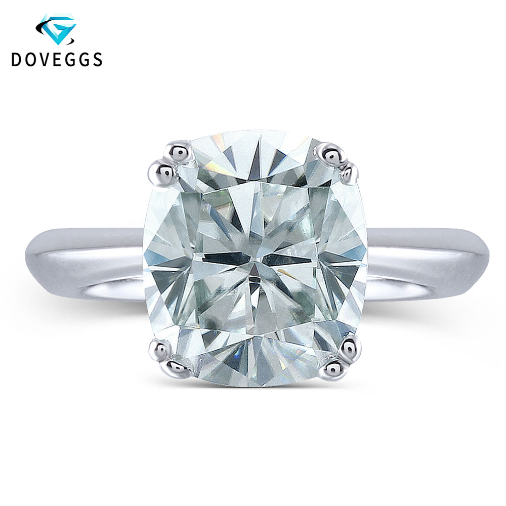 DovEggs Light Blue 2ct 7 8mm Cushion Cut Lab Grown Moissanite Engagement Wedding Ring Platinum Plated