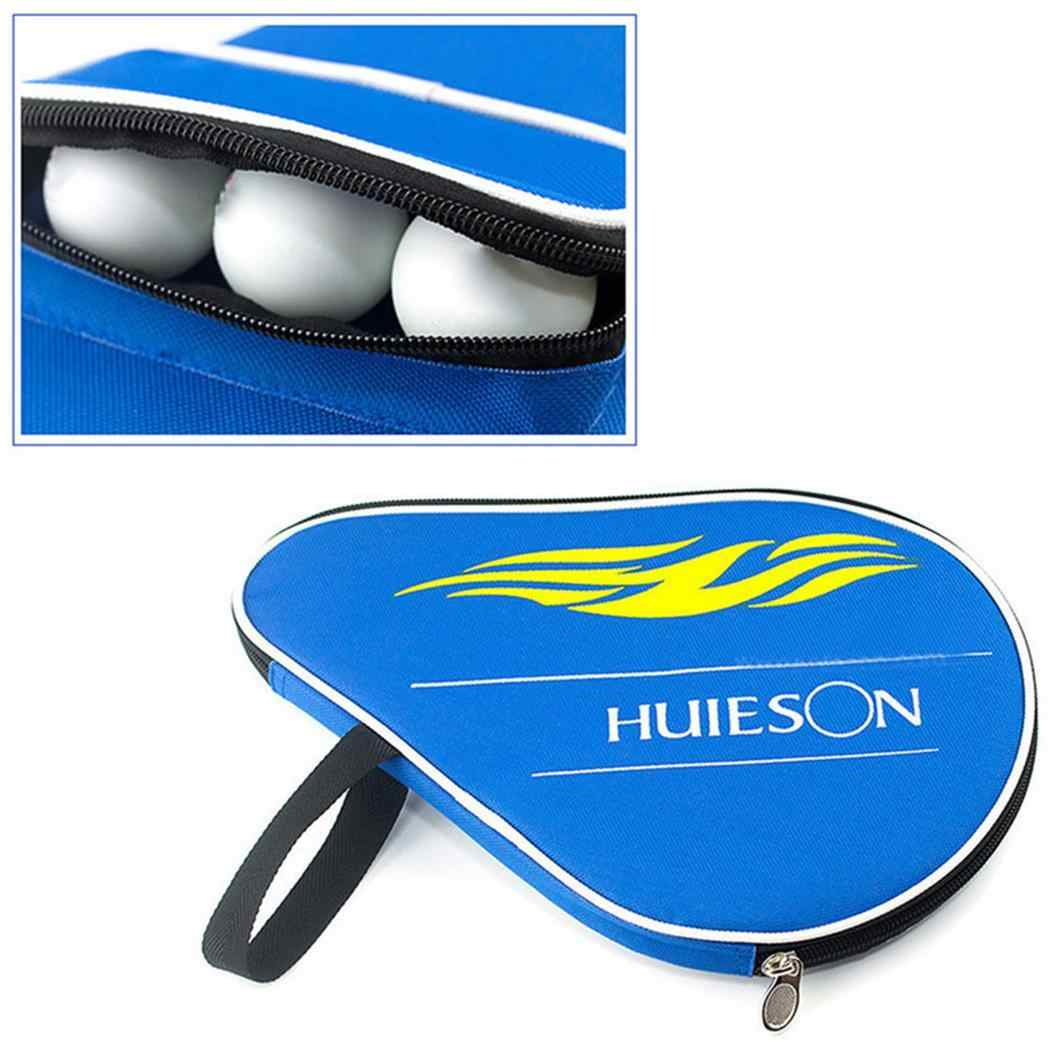 Table Tennis Case Bag Ping Pong Paddle Bat Bag Cover with Blue, Black Ball Pouch