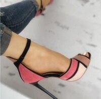 Colorblock Ankle Strap High Heeled Sandals Purple Black Patchwork Peep Toe Ladies Dress Shoes Cut out Gladiator Heels Women Pump