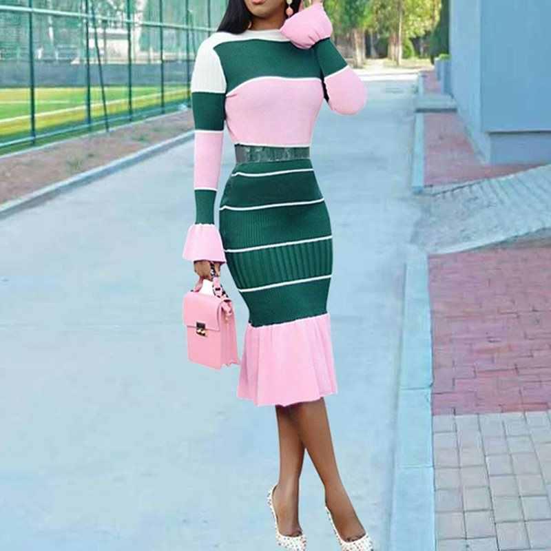 فستان باتشورك 2019 فستان ضيق وردي اللون مكشكش ومضيء الأكمام فساتين بدي كون أنيقة للمكتب والعمل فساتين ميدي النسائية الأفريقية اليومية