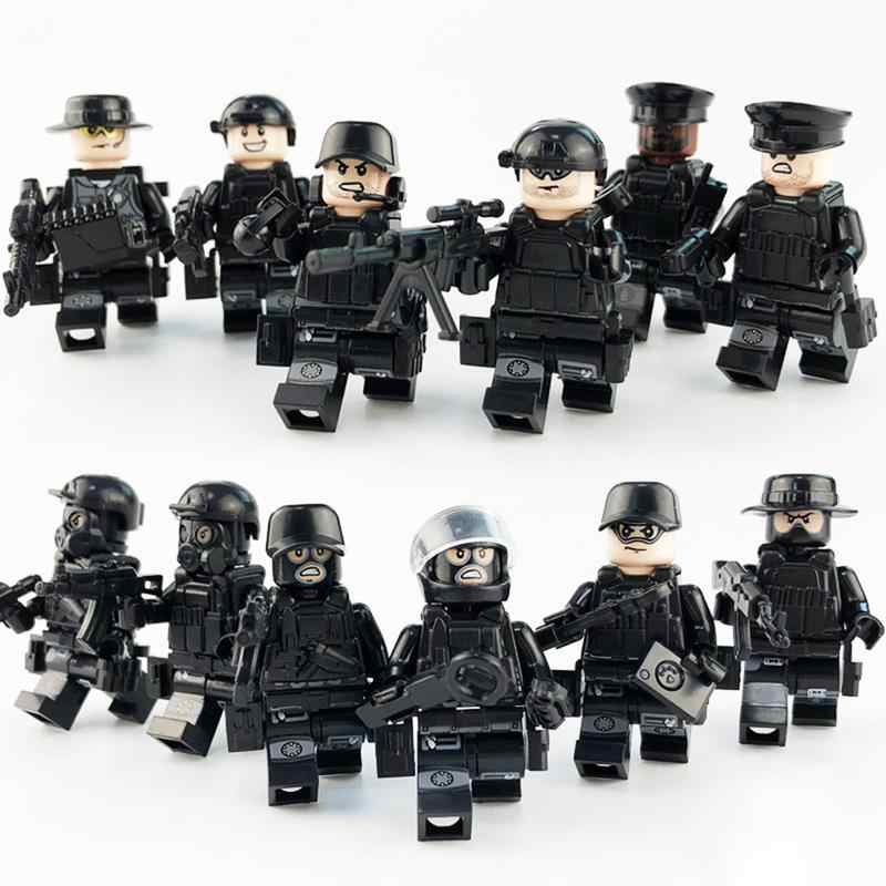 12pcs/set Military Special Forces Soldiers Bricks Figures Guns Weapons Compatible Legoings Armed SWAT Building Blocks Kids Toys
