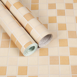 Image 5 - Sale Shower Room Moasic Self Adhesive Wallpaper Pvc Waterproof Wall Sticker Fashion Kitchen Oilproof Tile Stickers Bathroom