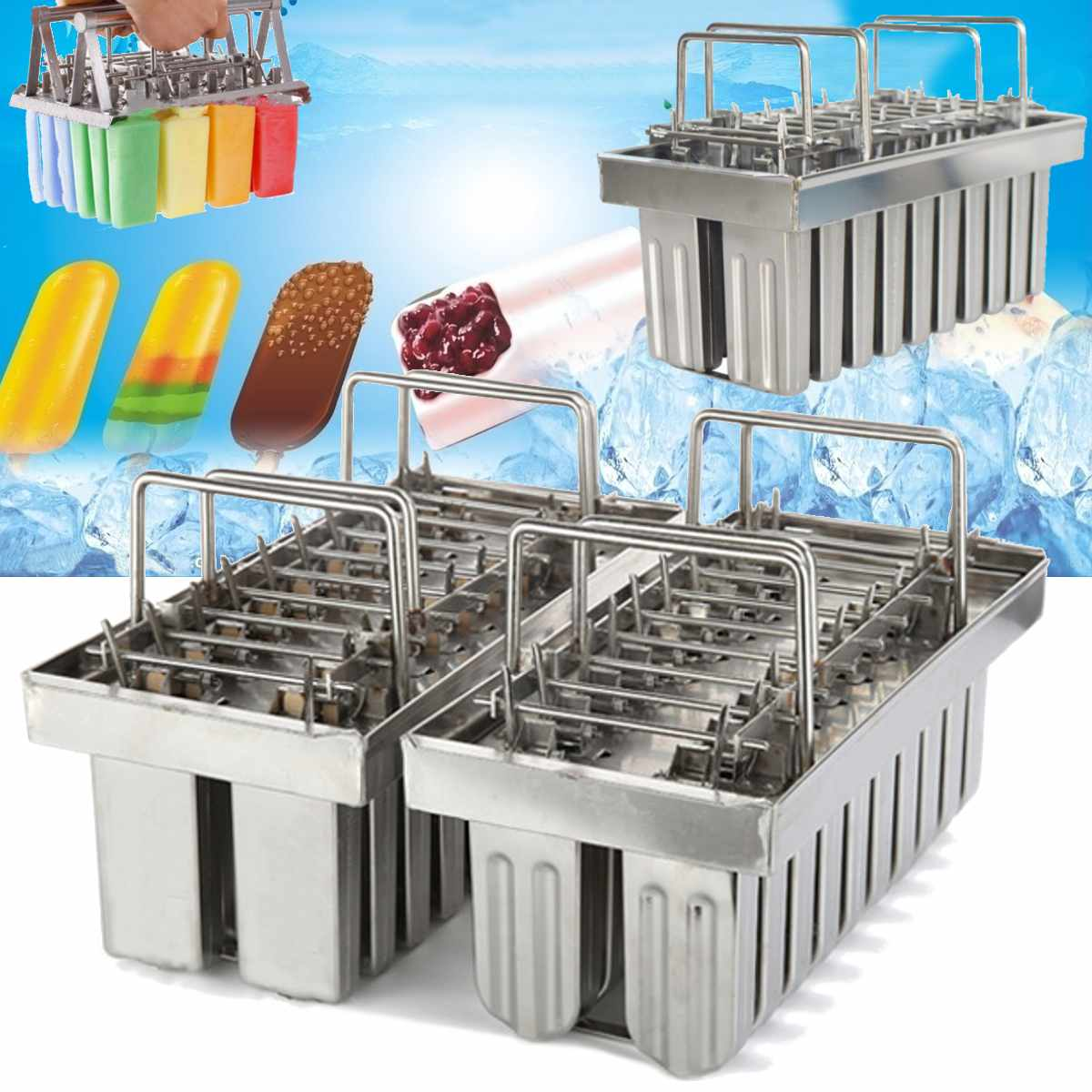 20 Molds Stainless Steel DIY Ice Cream Mould Popsicle Ice Cream Make Tool Silver Home Ice Cream Maker Stick Holder Mould New