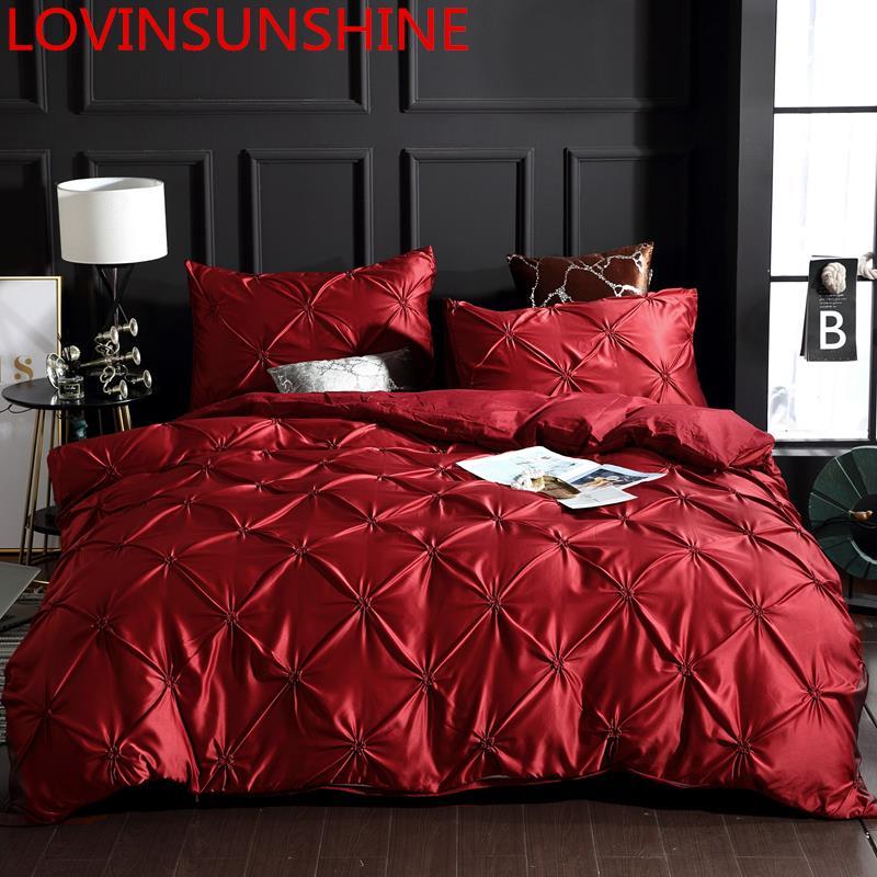 LOVINSUNSHINE Luxury Duvet Cover Bedding Set Queen Bed Quilt Covers Bed Linen Linen Silk AN04#-in Bedding Sets from Home & Garden