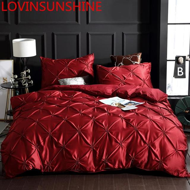 LOVINSUNSHINE Luxury Duvet Cover Bedding Set Queen Bed Quilt Covers Bed Linen Linen Silk AN04#