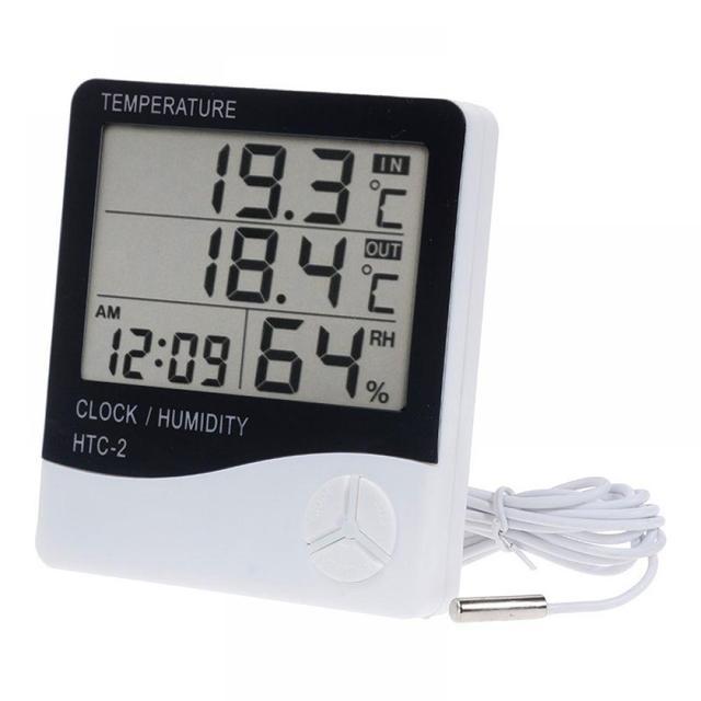 Termómetro HTC-2 Vastar probador del tiempo estación LCD temperatura interior exterior humedad medidor Digital higrómetro electrónico