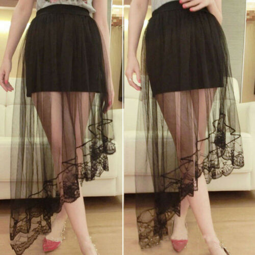 Summer Women Lace Tulle Long Dress Princess Girls Ballet Tutu Dance Beach Skirt