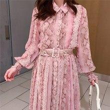 2019 Spring Snake Print Dress Women Long Sleeve Single-breasted Loose Dress Ladies Sashes Chiffon Dress curved hem single breasted cami dress