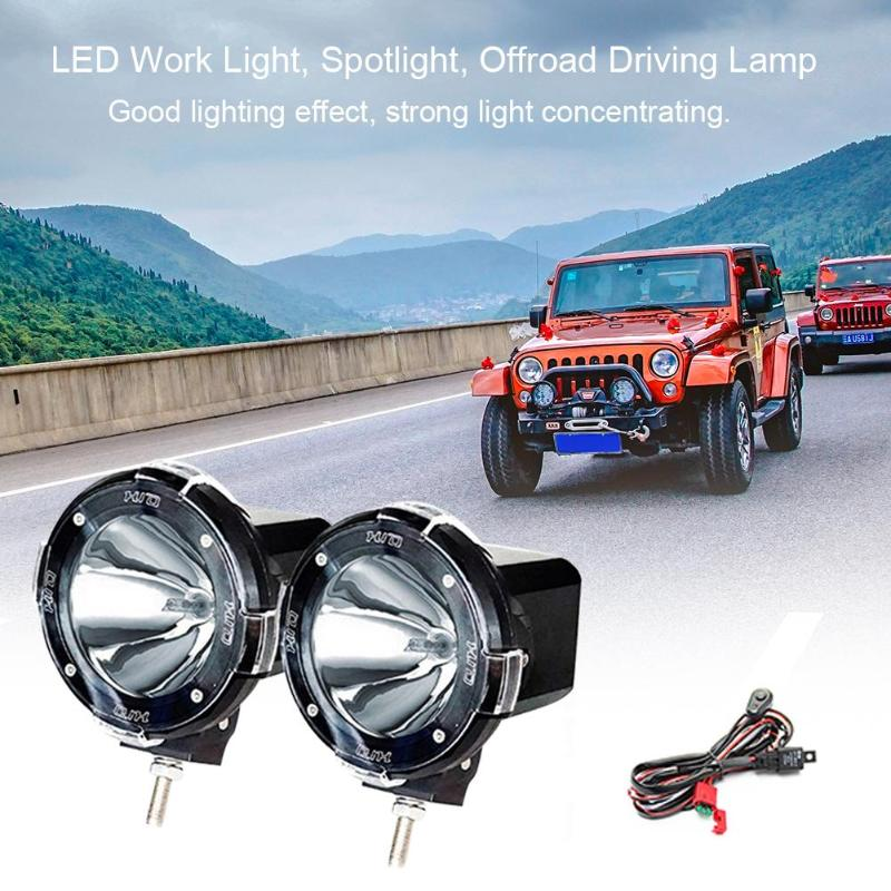 d687eaa8dd7a 1 Pair 4 inch 12V 100W LED Work Light Spotlight Round IP65 Waterproof Offroad  Driving Lamp