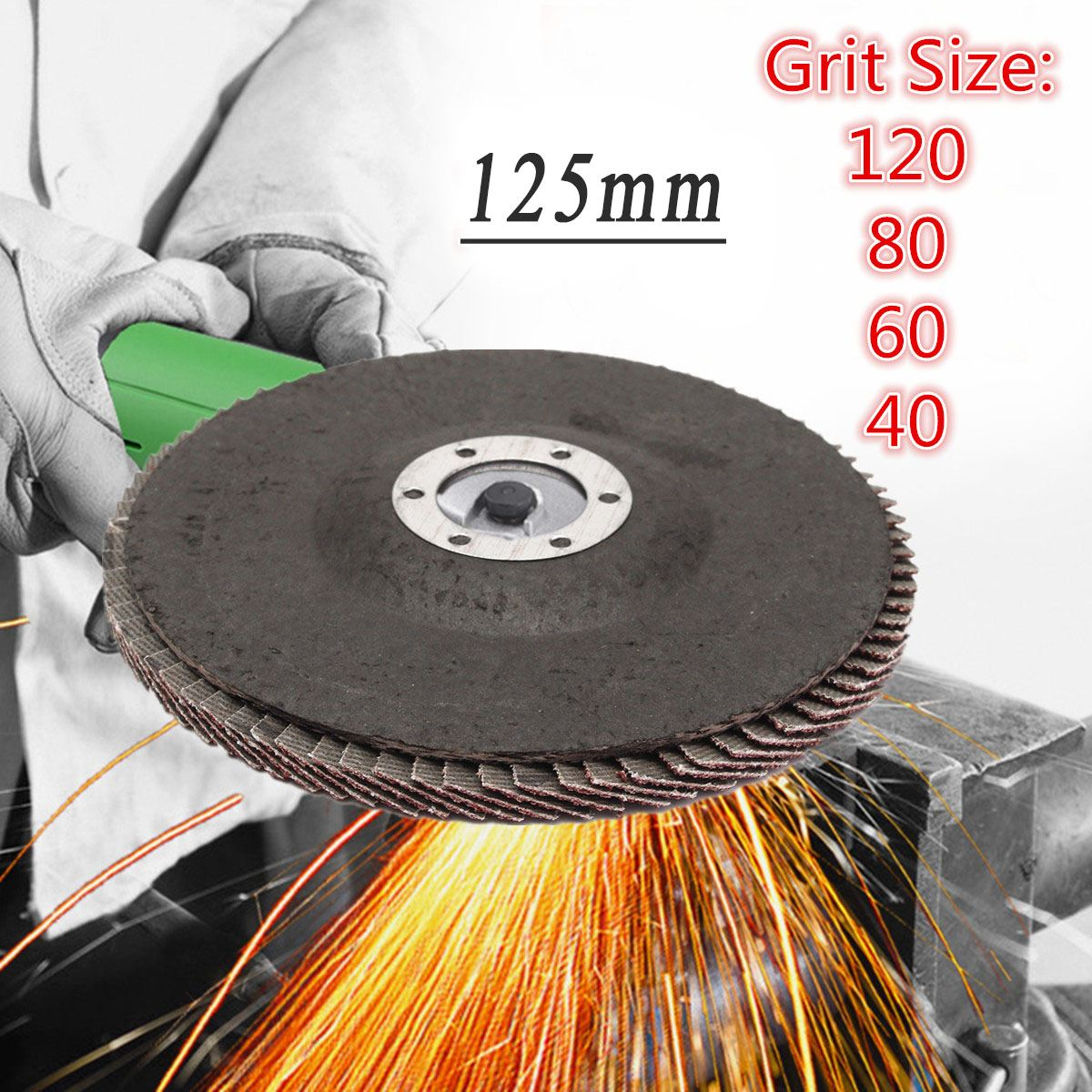 125mm 5 Inch 40/60/80/120 Grit Grinding Wheel Flap Disc Angle Grinder Sanding Tool 13000 Rpm Aluminum Oxide Abrasive Tools