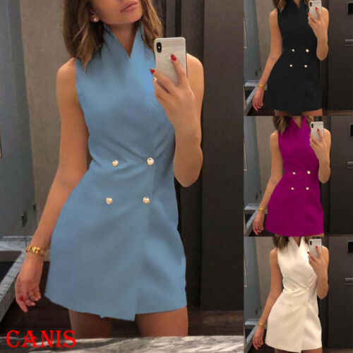 Women Summer Bodycon Collar Blazer Double Breasted Sleeveless Work Office Lady Mini Dress