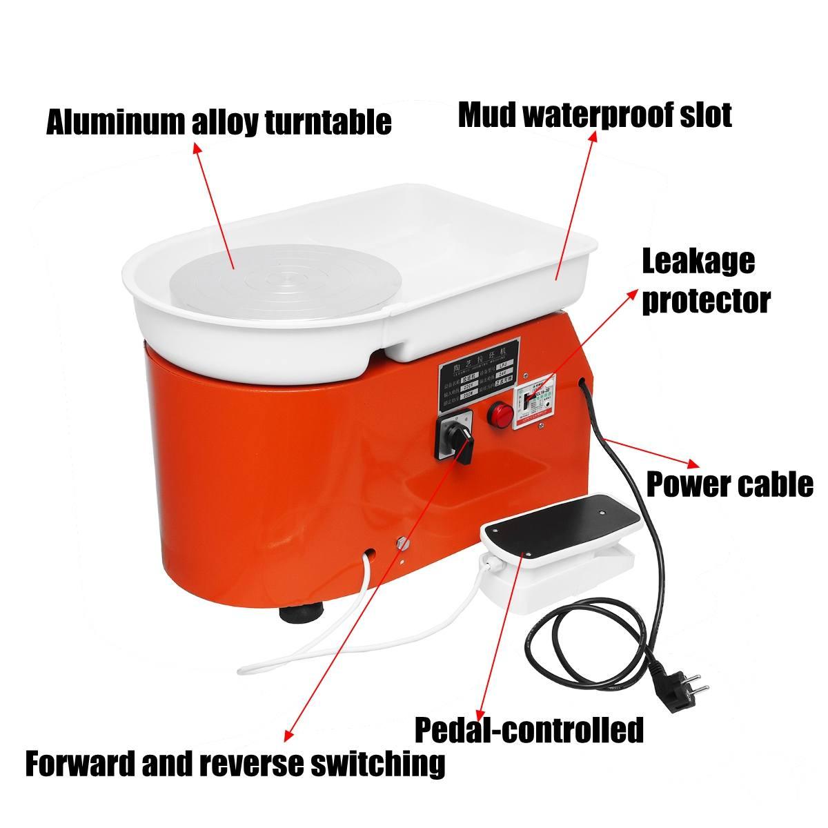 Tourne-disque 250 W/350 W Tours électriques roue poterie Machine céramique argile potier Art pour céramique travail céramique 110 V/220 V - 3