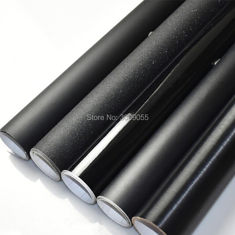 Noir Mat Enveloppe de Vinyle avec Bulle D'air Libre Mat Noir Feuille De Voiture Wrap Film Véhicule Autocollant Comme 1.52x30 m/Rouleau