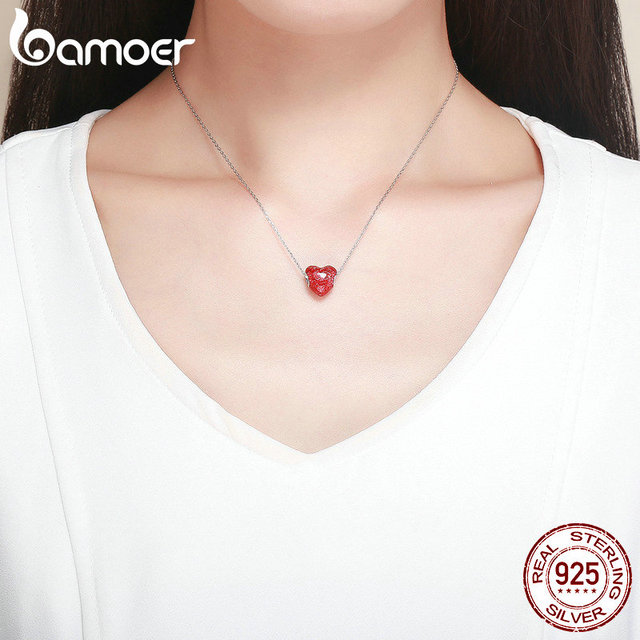BAMOER walentynki 925 srebro kwiat czerwonej róży w kształcie serca wisiorki koraliki dopasowane bransoletki z charmsami walentynki biżuteria SCC1064