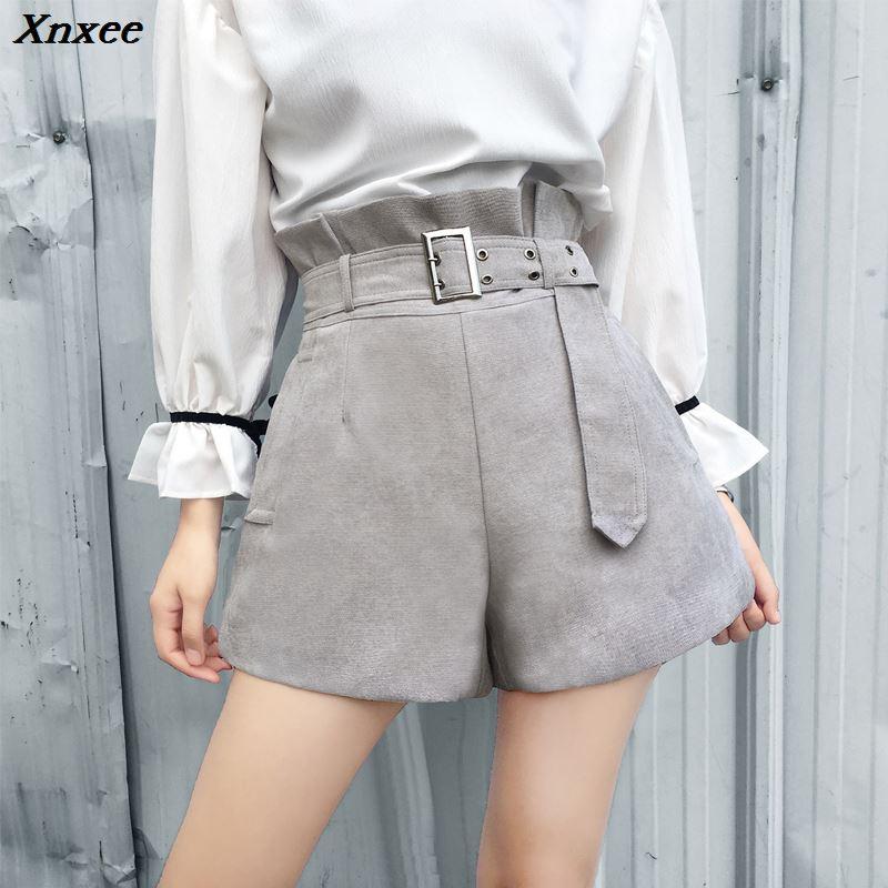 Xnxee high waist wide leg shorts with free belt women high street casual slim shorts fashion green short trousers 2019 2XL size
