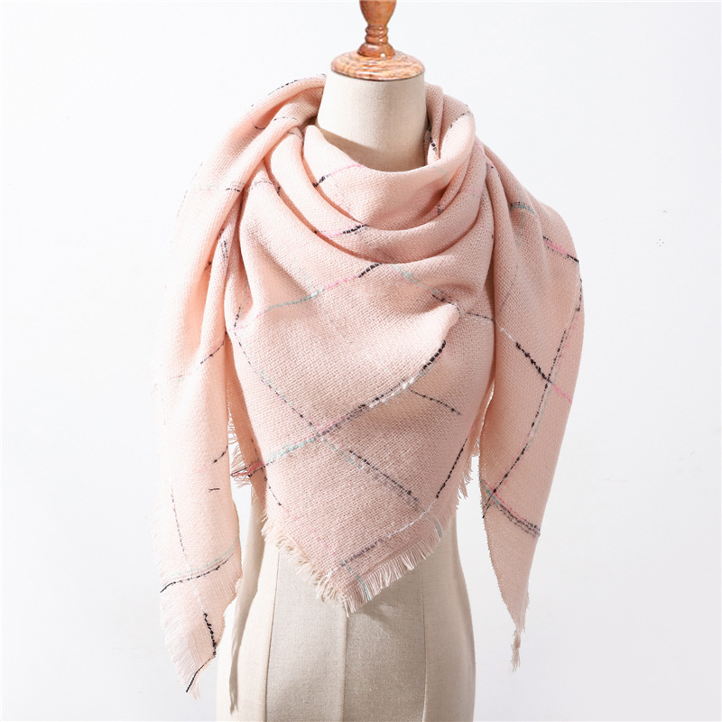 2019 New Women's Winter Triangle Scarf  Plaid Warm Cashmere Scarves Female Shawls Pashmina Lady Bandana Wraps Blanket Hijabs